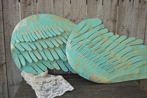 Large angel wings wall decor