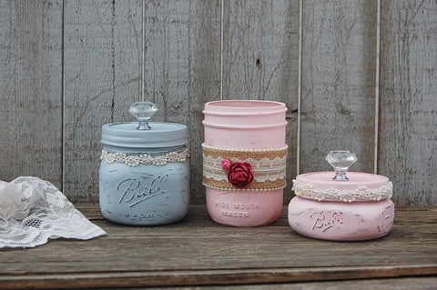 Mason dresser jar set - The Vintage Artistry