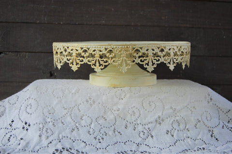 Ivory & gold cake stand - The Vintage Artistry