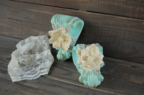 Magnolia drapery sconces - The Vintage Artistry