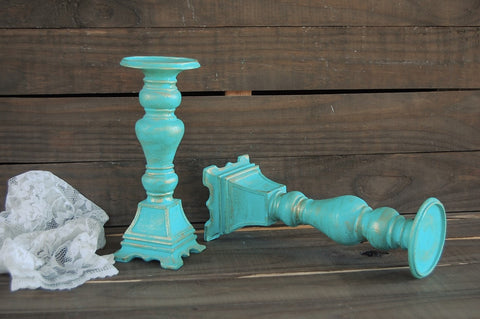 Aqua pillar candle holders - The Vintage Artistry