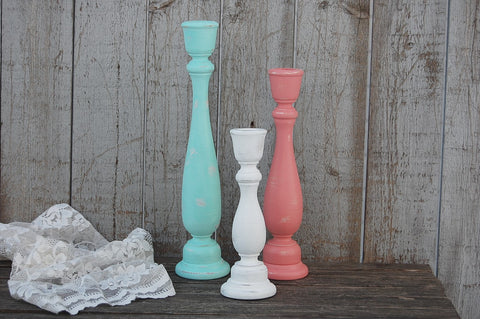 Mint & coral candlesticks