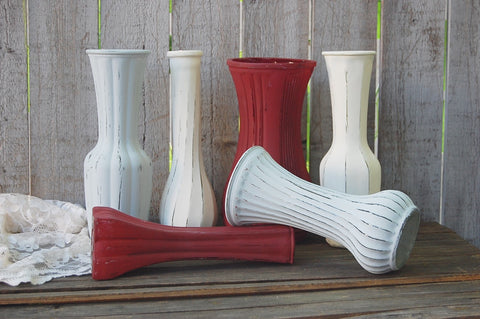 Marsala & grey painted vases