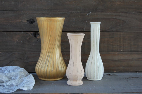 Taupe & gold vases