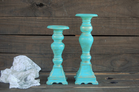 Aqua pillar candle holders