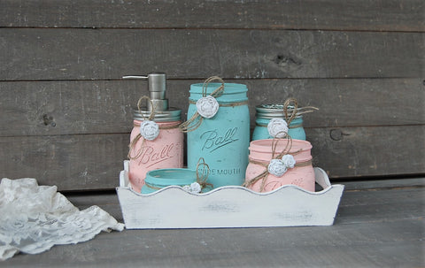Bathroom set & tray - The Vintage Artistry