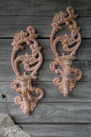 Pink & gold candle sconces - The Vintage Artistry