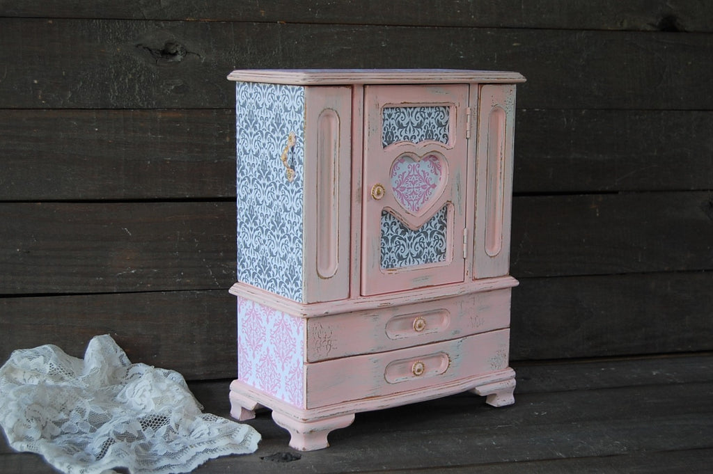 Pink & grey damask armoire