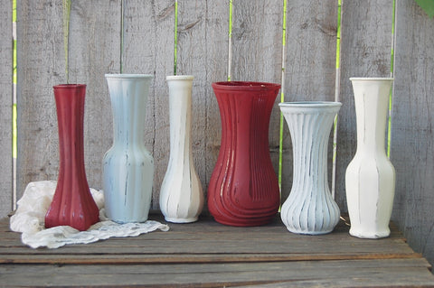 Marsala & grey painted vases - The Vintage Artistry