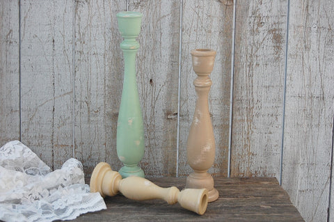 Earth tone candlesticks - The Vintage Artistry