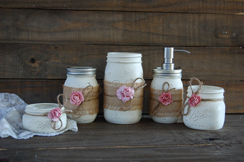 Ivory & pink soap pump set