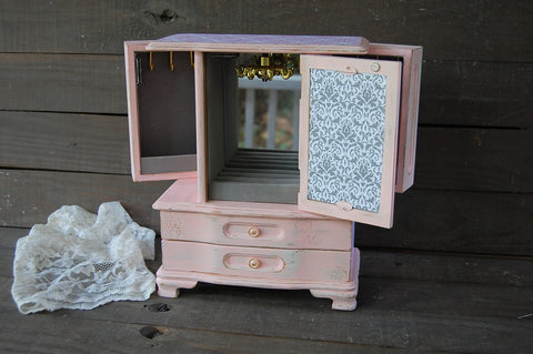 Pink & grey damask armoire - The Vintage Artistry