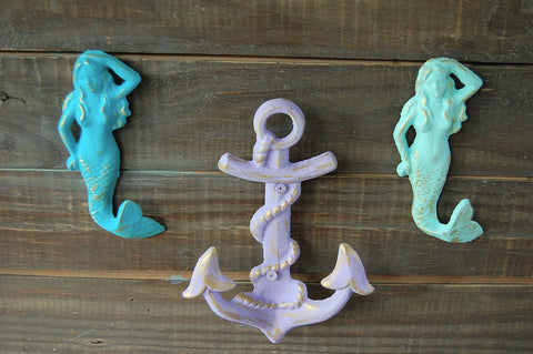 Mermaid & anchor hooks - The Vintage Artistry
