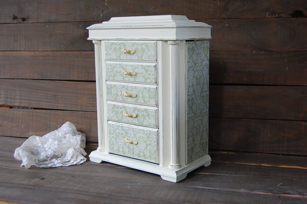 Sage Damask Armoire The Vintage Artistry