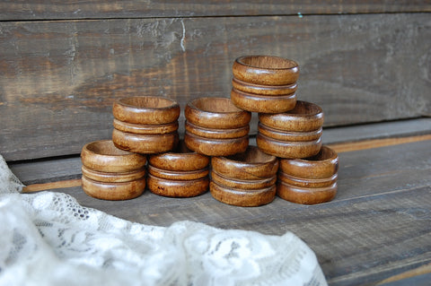Turned wood napkin rings