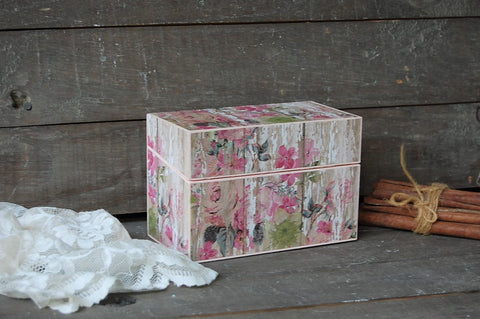 Pink cottage rose recipe box