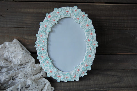 Mint & coral daisy frame - The Vintage Artistry
