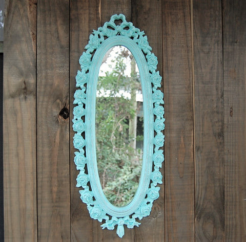 Distressed mint mirror