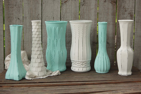 Shabby chic vase set