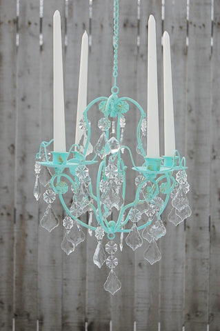 Mint Candle Chandelier