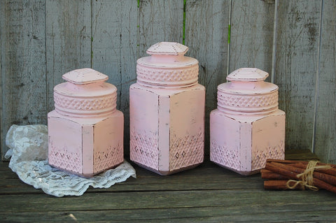 Pink canister set