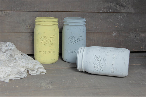 Yellow, grey & white mason jars