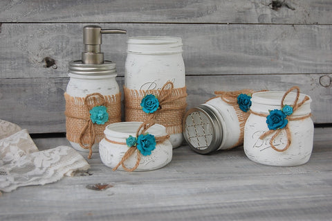 White mason jar bathroom set