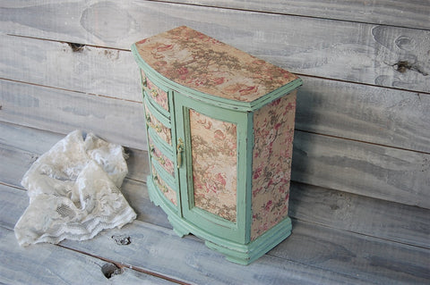 French toile jewelry armoire - The Vintage Artistry