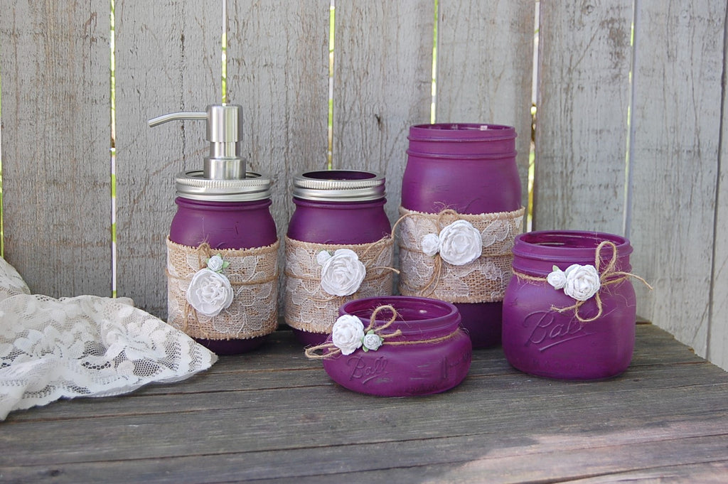 Plum mason jar bathroom set