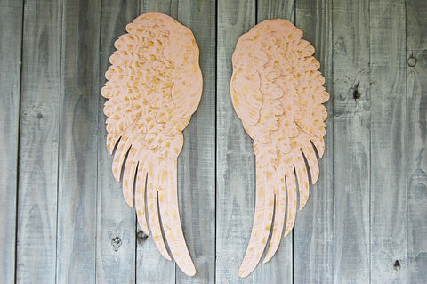 Blush & gold angel wings