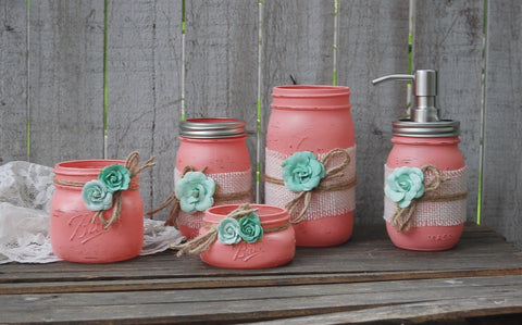 Coral & mint bathroom set