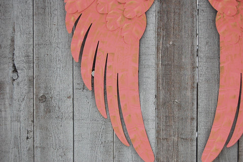 Coral & gold angel wings