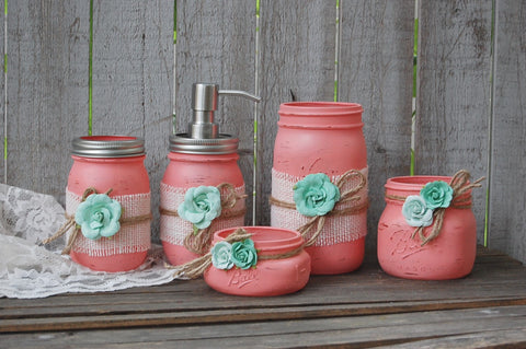 Coral & mint bathroom set - The Vintage Artistry