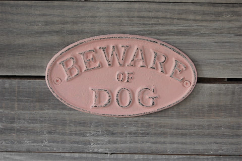 Pink dog sign - The Vintage Artistry