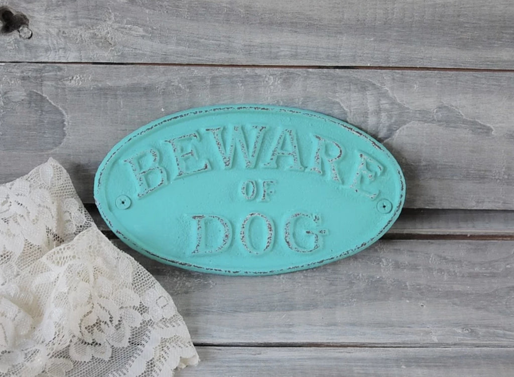 Dog warning sign - The Vintage Artistry