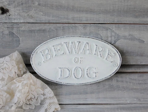 Beware of dog sign - The Vintage Artistry