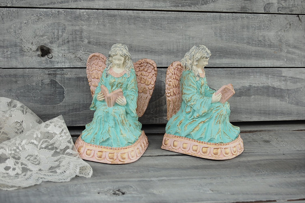Mint & coral angel bookends