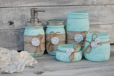 Mint green bathroom set