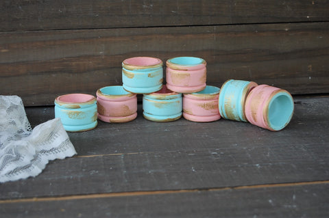 Mint & peach napkin rings - The Vintage Artistry