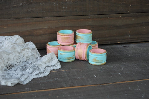 Mint & peach napkin rings