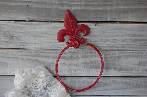 Rustic red towel ring