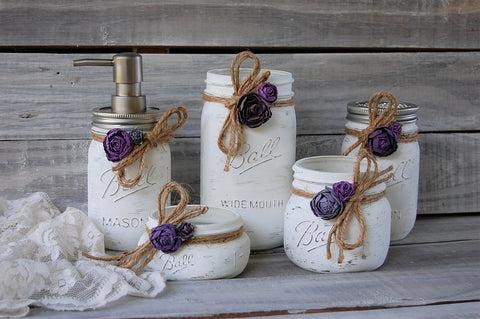 Purple & white bathroom set