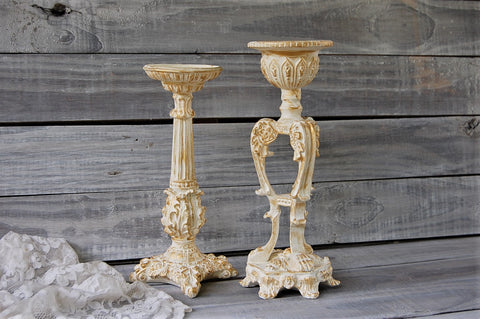Ivory & gold candlesticks