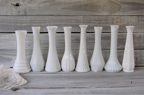 Vintage milk glass vases