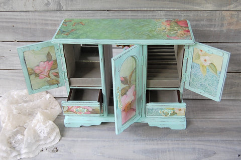 Mint green jewelry armoire