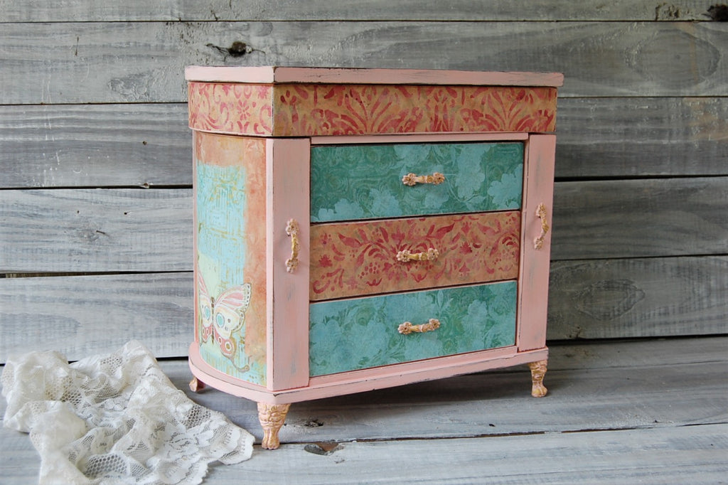 Coral & teal jewelry armoire
