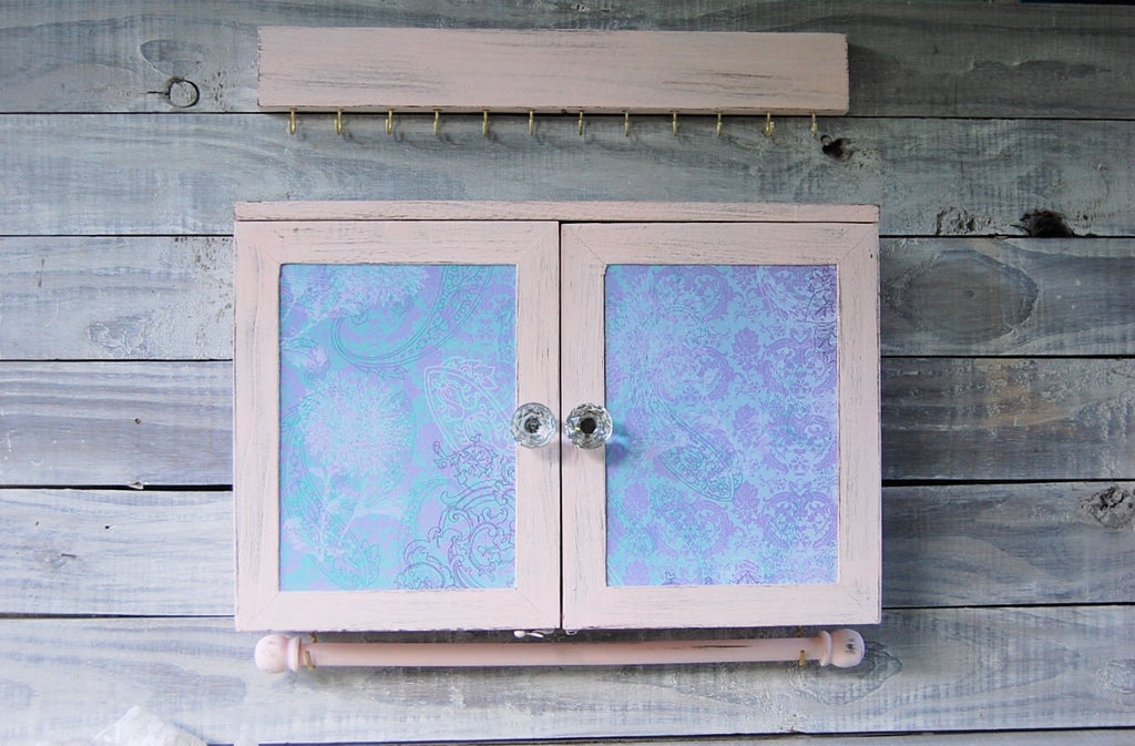 Pink & teal jewelry armoire