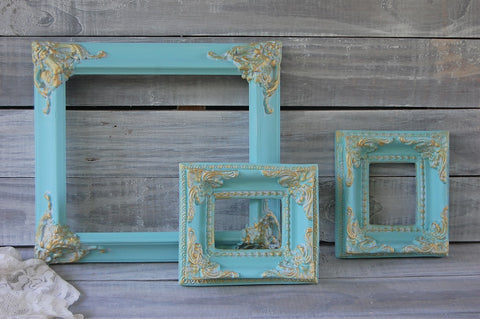 Teal & gold frames