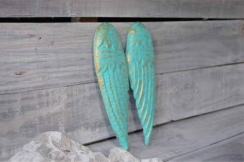 Teal & gold angel wings