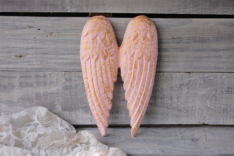Pink & gold angel wings